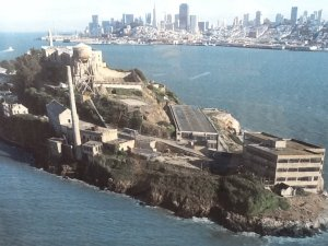 Alcatraz Helicopter view city